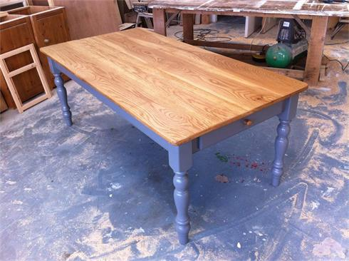 2m x 1m dining table with twin drawers in base and solid reclaimed oak top. 