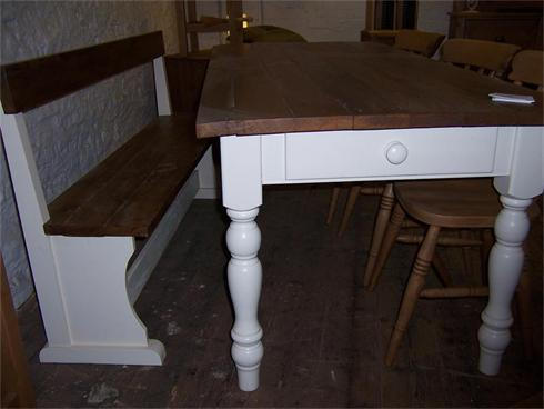 6'x3' Farmhouse table with painted legs and reclaimed pitch pine table top. Matching bench with reclaimed pitch pine seat and back rail.  Table £550 Bench £350
