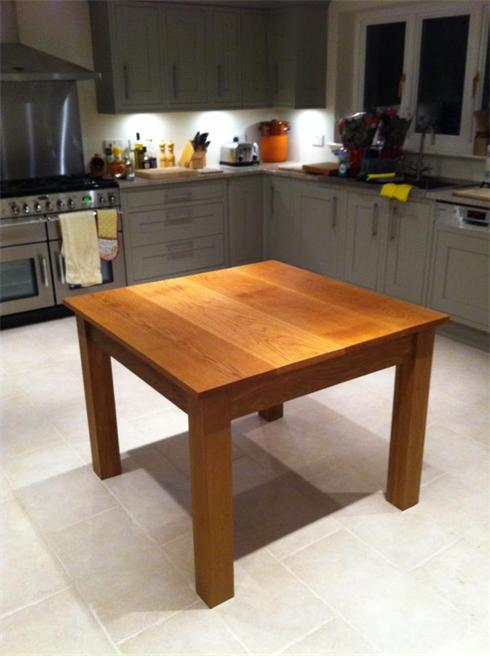 Solid oak oiled kitchen table, 3' x 3'. £750.
