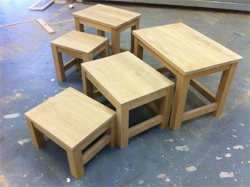 Solid oak nests of tables. 3 table nest £495. 2 table nest £365.