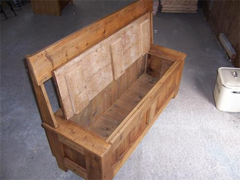 6' long settle bench with opening seat / lid, made from reclaimed victorian floorboards.