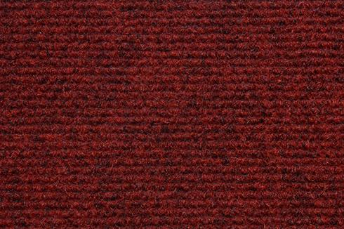 Red Hard wearing ribbed exhibition carpet