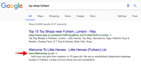 SEO case study for Little Heroes toy shop