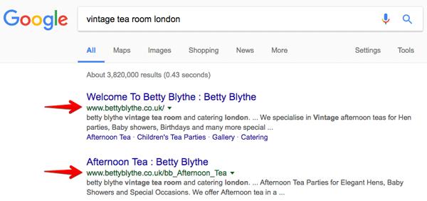 SEO case study for Betty Blythe