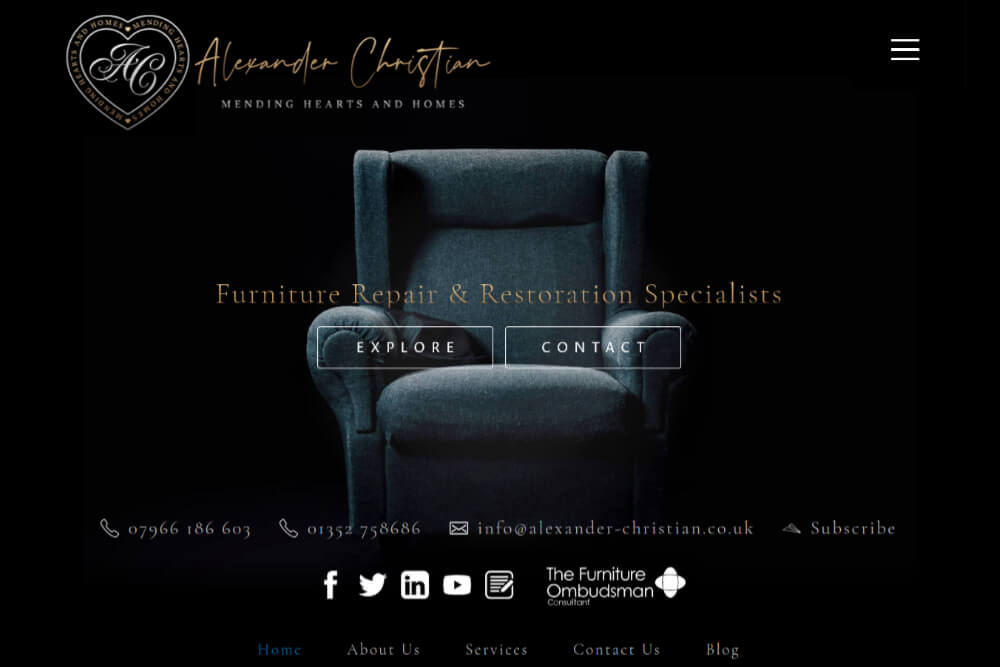 Alexander Christian - Furniture Repair website design by Toolkit Websites, professional website designers