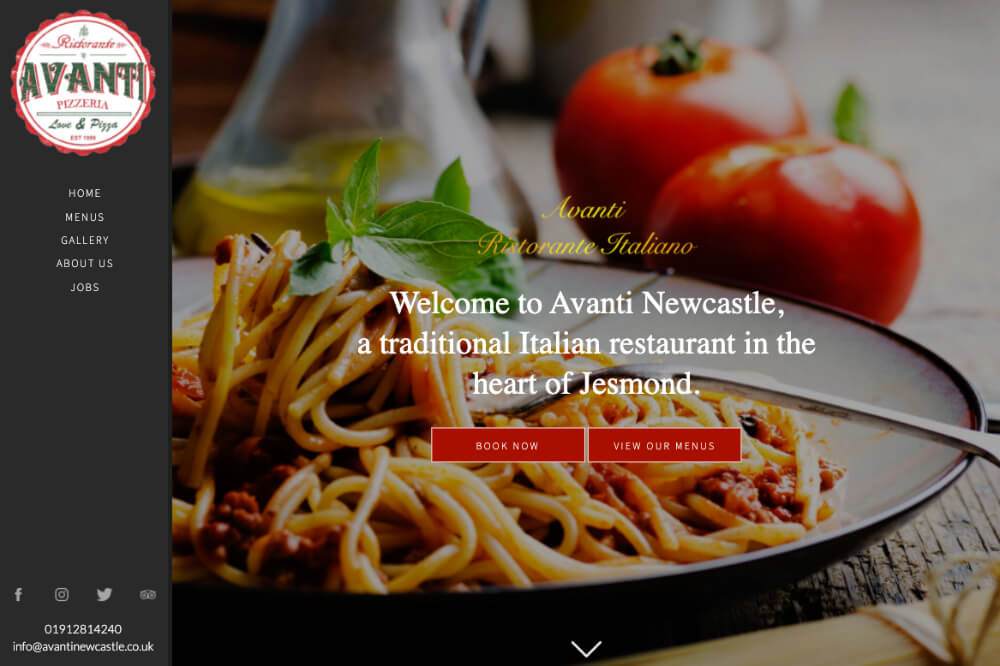 Avanti Newcastle - restaurant web design by Toolkit Websites, business website designers