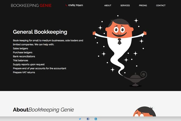 Bookkeeping Genie - Accountancy website design by Toolkit Websites, Southampton