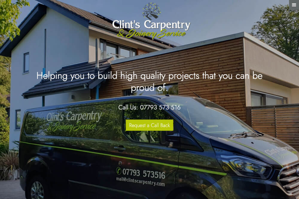 Clints Carpentry - Carpentry web design by Toolkit Websites, business website designers