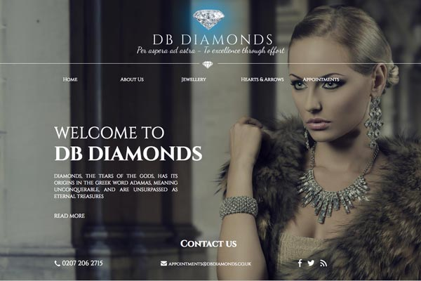 DB Diamonds - Jewellery website design by Toolkit Websites, Southampton