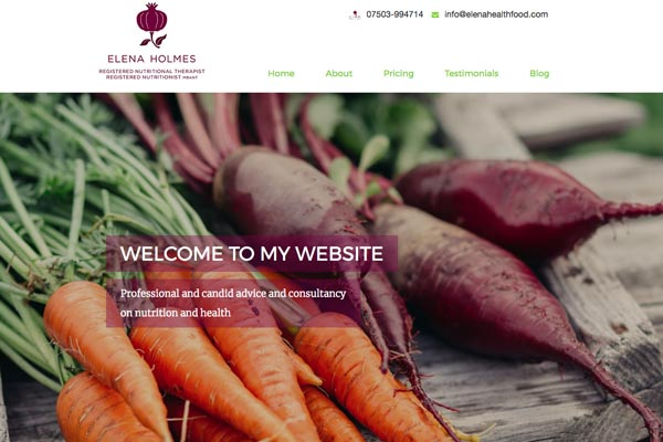 Elena, Health & Food - website design by Toolkit Websites, Southampton