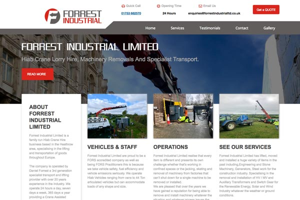 Forrest Industrial Ltd - web design by Toolkit Websites, Southampton