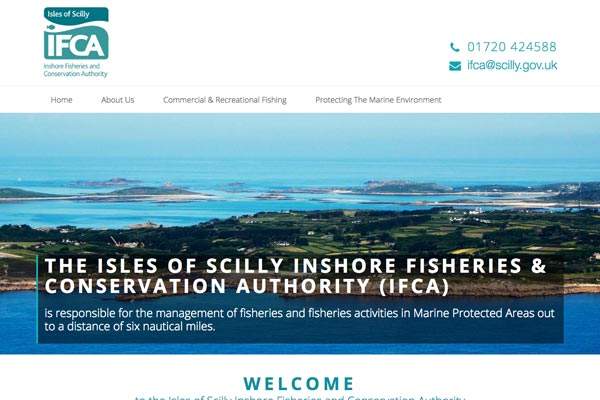 IFCA Scilly - public sector web design by Toolkit Websites, expert website designers