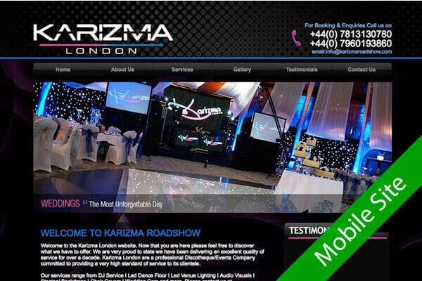 Karizma Roadshow - Events web design by Toolkit Websites, Southampton