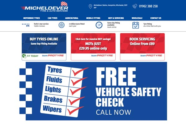 Micheldever Tyre and Auto Services - website design by Toolkit Websites, expert website designers