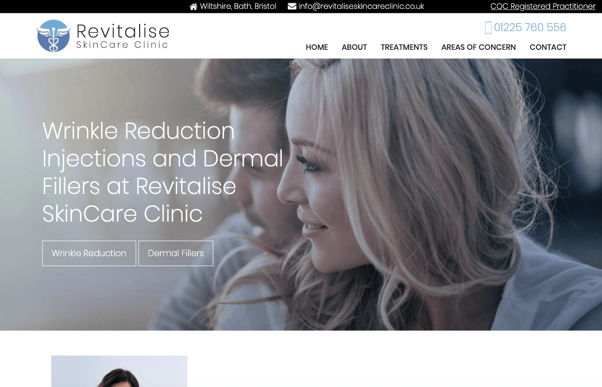 Revitalise Skin Care Clinic - Bespoke Skincare Clinic brochure-style website design by Toolkit Websites, expert website designers