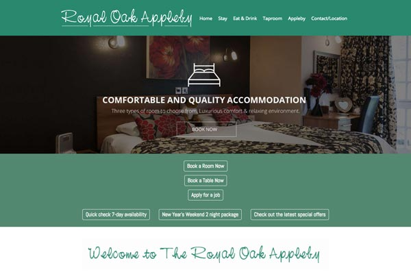 Royal Oak Appleby - website design by Toolkit Websites, Southampton