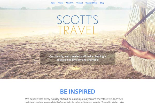 Scotts Travel - website design by Toolkit Websites, Southampton