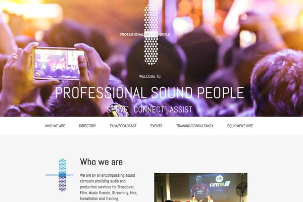 Professional Sound People - Small business website designed by Toolkit Websites, Southampton