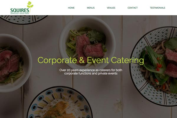 Squires - Catering website design by Toolkit Websites, Southampton
