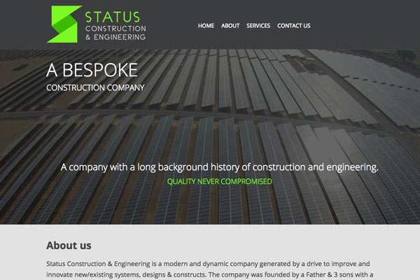 Status Construction - Construction website design by Toolkit Websites, business website designers