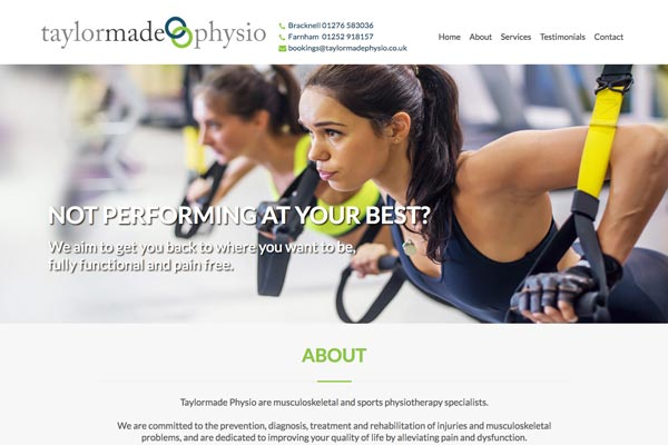 Taylor Made Physio - web design by Toolkit Websites, Southampton