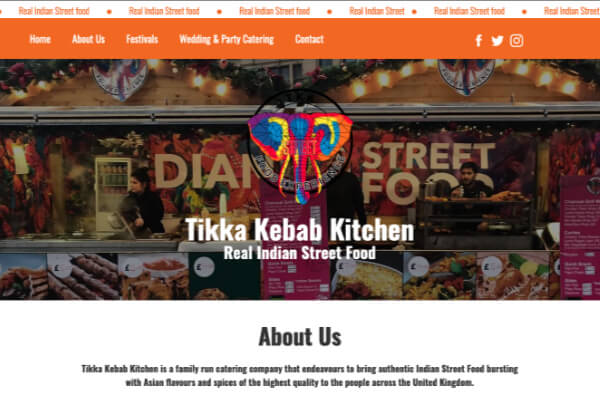 Tikka Kebab Kitchen - catering website design by Toolkit Websites, business website designers