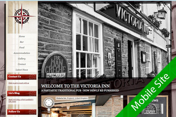 Victoria Inn - Traditional pub website design by Toolkit Websites, Southampton