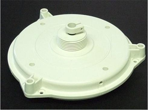 Injection moulded component with expanding cores on the fixed half.