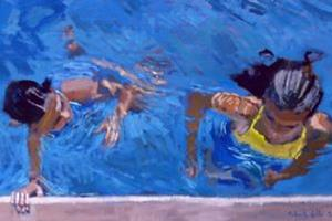 3 Swimmers in Pool - acrylic on paper - 25 x 50 cm -sold