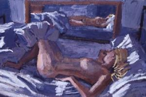 Reclining Nude on Bed - acrylic on paper - 30 x 60 cm - sold