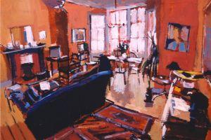 Edinburgh Living Room - acrylic on paper - 30 x 45 cm - sold