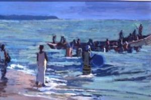 Fishing Scene, Gambia - acrylic on board - 50 x 130 cm - sold