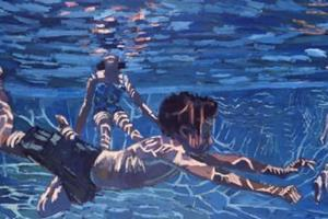 Swimming Pool - acrylic on board - 120 x 240 cm -sold