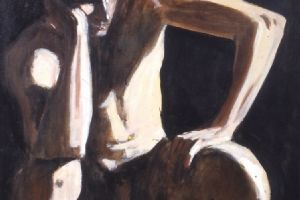 Seated Male Nude - acrylic on board - 75 x 75 cm -sold
