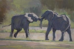 Two Elephants play-fighting - acrylic on board - 50 x 80 cm - sold