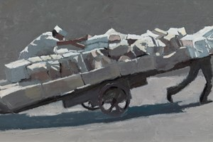 Two Men and a Cart, Mumbai  - Oil on Board - 30 x 60 cm - SOLD