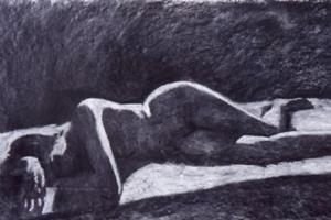 Reclining Nude - charcoal on paper - 58 x 125 cm - sold