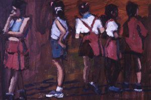 Schoolgirls, Havana - acrylic on paper - 27 x 36 cm -sold