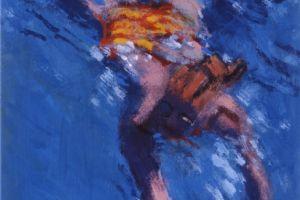 Su Swimming - acrylic on paper - 20 x 35 cm - sold