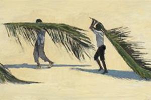 Boys Carrying Palm Branches, Zanzibar -oil on board - 30 x 75 cm - sold