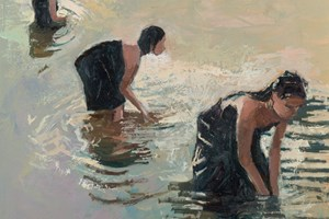 Three Women Washing, Laos  - Oil on Board - 50 x 50 cm - POA