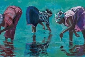 Three Women Looking for Sea Urchins, Zanzibar  - Oil on Board - 35 x 50 cm - sold