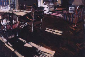 Living Room, Trebetherick - acrylic on paper - 45 x 45 cm - sold
