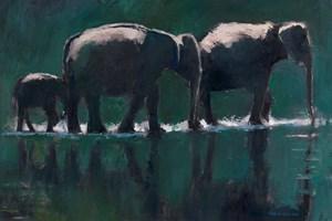 Three Elephants Sri Lanka - oil on board - 30 x 50 cm - SOLD