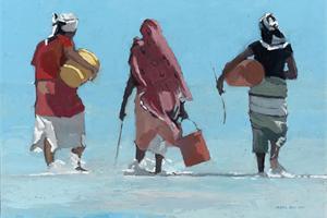 3 Women With Buckets, Zanzibar oil on board - 35 x 50 cm- sold
