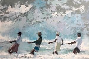 4 Men in a Storm, Sri Lanka  - Oil on Board - 50 x 60 cm - SOLD