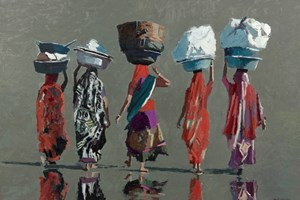 Walking Home from the Market, Diu  - Oil on Board - 77 x 110 cm - SOLD