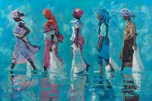 Five Women Walking, Zanzibar  - Oil on Board - 90 x 137 cm - sold