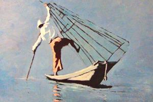 Balancing Fisherman, Burma - oil on board - 75 x 100 cm - sold