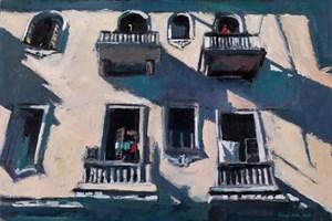 Balconies, Havana - oil on board - 35 x 50 cm - POA